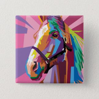 Chapa Cuadrada Retrato colorido del caballo del arte pop