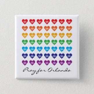 Chapa Cuadrada Ruegue para Orlando un corazón del arco iris del