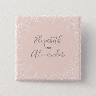 Chapa Cuadrada Se ruboriza el boda rosado y blanco del confeti
