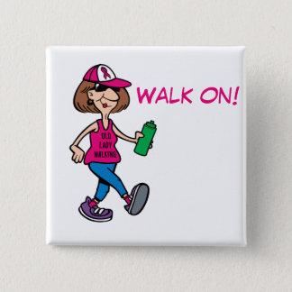 Chapa Cuadrada Señora mayor rosada de la cinta que camina -