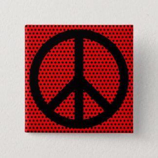 Chapa Cuadrada Símbolo de paz rojo y negro