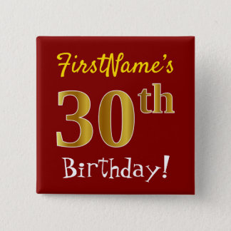 Chapa Cuadrada Trigésimo cumpleaños del oro rojo, falso, con