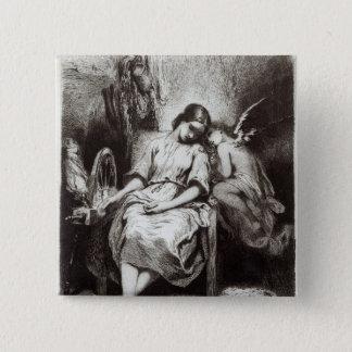 Chapa Cuadrada Una mujer joven que dormita con un ángel