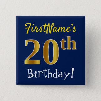 Chapa Cuadrada Vigésimo cumpleaños del oro azul, falso, con