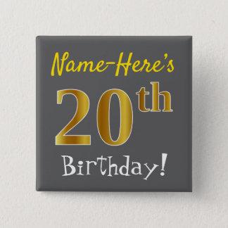 Chapa Cuadrada Vigésimo cumpleaños del oro gris, falso, con