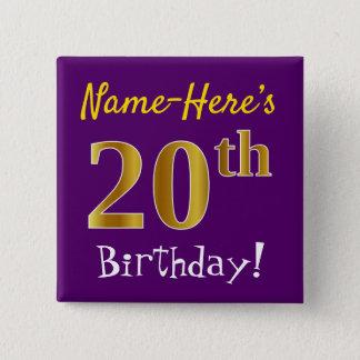 Chapa Cuadrada Vigésimo cumpleaños del oro púrpura, falso, con