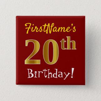 Chapa Cuadrada Vigésimo cumpleaños del oro rojo, falso, con