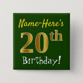 Chapa Cuadrada Vigésimo cumpleaños del oro verde, falso, con