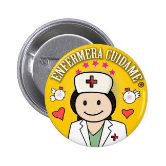 Chapa Enfermera Cuidame Morena Amarilla Chapa Redonda 5 Cm
