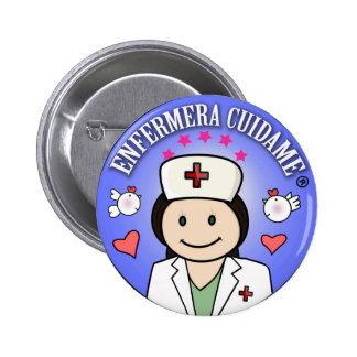 Chapa Enfermera Cuidame Morena Añil Chapa Redonda 5 Cm