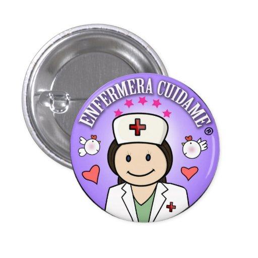 Chapa Enfermera Cuidame Morena Lila Chapa Redonda 2,5 Cm