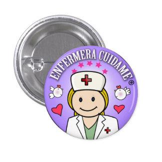 Chapa Enfermera Cuidame Plis Rubia Añil Chapa Redonda 2,5 Cm