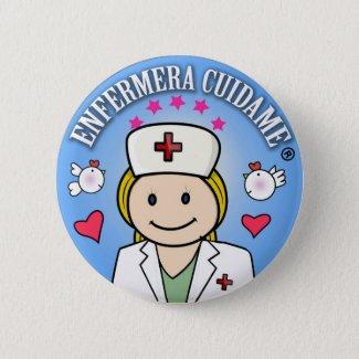 Chapa Enfermera Cuidame Plis Rubia Azul