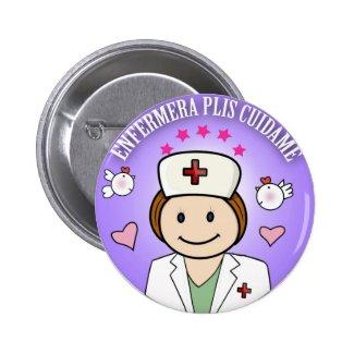 Chapa Enfermera Plis Cuidame en Azul