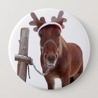 Chapa Redonda De 10 Cm Ciervos del caballo - caballo del navidad -