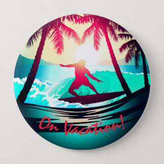 Chapa Redonda De 10 Cm El practicar surf con las palmeras