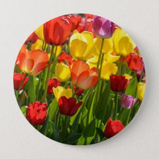 Chapa Redonda De 10 Cm Jardín del tulipán en la primavera