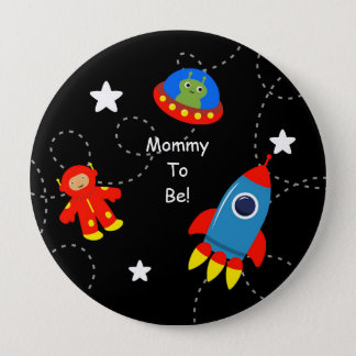 Chapa Redonda De 10 Cm Mamá personalizada negra del espacio exterior a