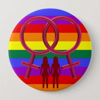 Chapa Redonda De 10 Cm Mujer lesbiana de los símbolos dos que sostiene el