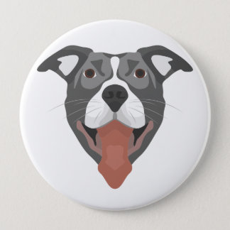 Chapa Redonda De 10 Cm Perro Pitbull sonriente del ilustracion