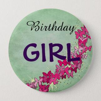 Chapa Redonda De 10 Cm Princesa rosada Birthday Girl Button de la
