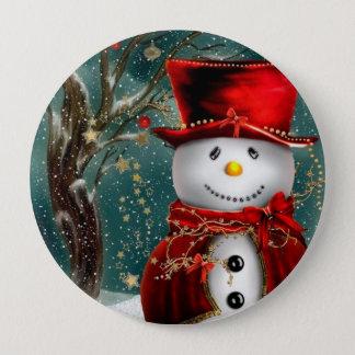 Chapa Redonda De 10 Cm Snowmans lindos - ilustracion del muñeco de nieve