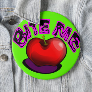 Chapa Redonda De 15 Cm Apple ME MUERDE Pin retro nostálgico 90s