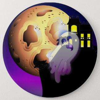 Chapa Redonda De 15 Cm Casa encantada, luna y fantasma