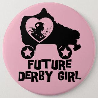 Chapa Redonda De 15 Cm Chica futuro de Derby, diseño del patinaje sobre