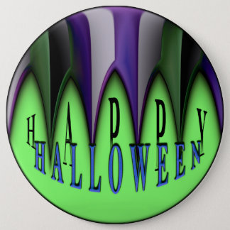 Chapa Redonda De 15 Cm Colmillos rayados del feliz Halloween verde