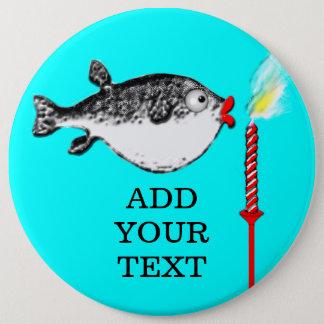 Chapa Redonda De 15 Cm El pescado del cumpleaños hace deseo