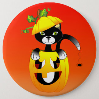 Chapa Redonda De 15 Cm Linterna de Jack O y gato negro
