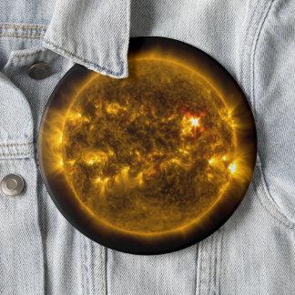 Chapa Redonda De 15 Cm Llamaradas solares en el jumbo del espacio