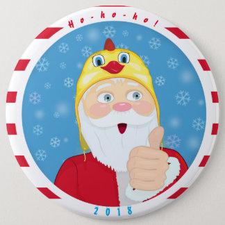 Chapa Redonda De 15 Cm Papá Noel en el gorra del pollo, pulgares, navidad