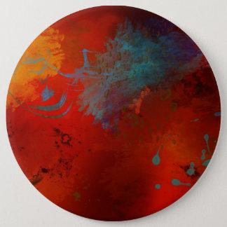 Chapa Redonda De 15 Cm Rojo, aguamarina y arte abstracto de Digitaces del