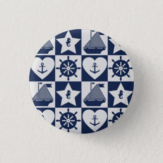 Chapa Redonda De 2,5 Cm A cuadros blanco de los azules marinos náuticos