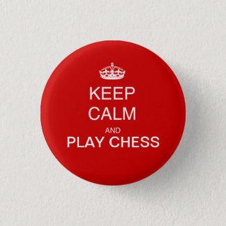 Chapa Redonda De 2,5 Cm AJEDREZ - guarde el rojo del ajedrez de la calma y