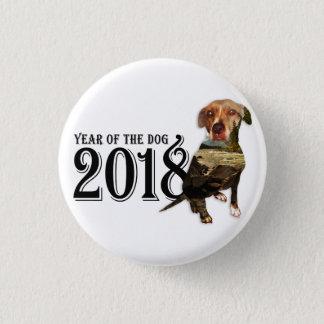 Chapa Redonda De 2,5 Cm Año de la exposición doble del perro 2018