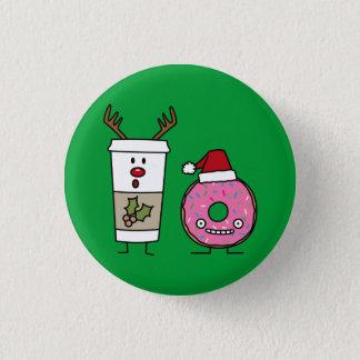 Chapa Redonda De 2,5 Cm Café del reno del navidad y buñuelo de Santa