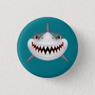 Chapa Redonda De 2,5 Cm Cara asustadiza animada del tiburón