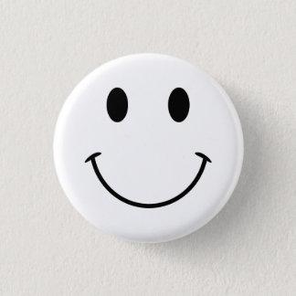 Chapa Redonda De 2,5 Cm Cara sonriente blanca y negra