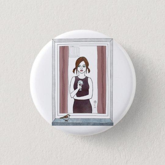Chapa Redonda De 2,5 Cm chica en la ventana