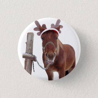 Chapa Redonda De 2,5 Cm Ciervos del caballo - caballo del navidad -
