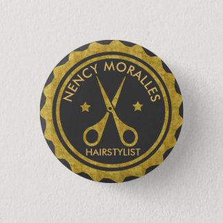 Chapa Redonda De 2,5 Cm Círculo del oro y logotipo del Hairstylist de las