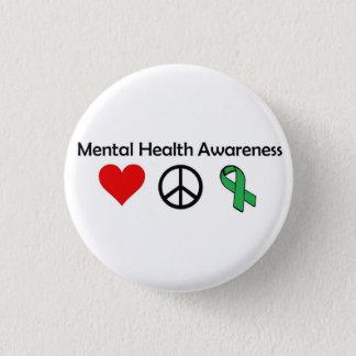 Chapa Redonda De 2,5 Cm Conciencia de la salud mental - amor, paz,