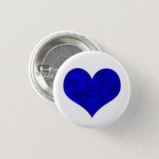 Chapa Redonda De 2,5 Cm Corazón real de mármol del azul de cobalto