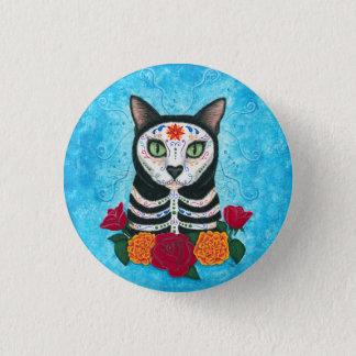 Chapa Redonda De 2,5 Cm Día del arte muerto del gato del cráneo del azúcar