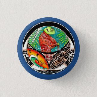 Chapa Redonda De 2,5 Cm Dibujo del arte del camaleón