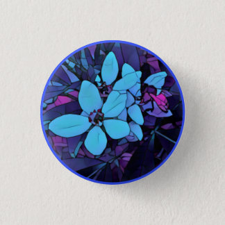 Chapa Redonda De 2,5 Cm flor Joya-azul del mosaico
