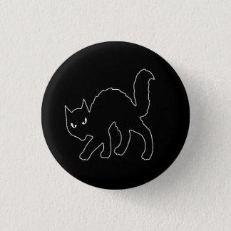 Chapa Redonda De 2,5 Cm Gato asustadizo gótico del gatito de Halloween